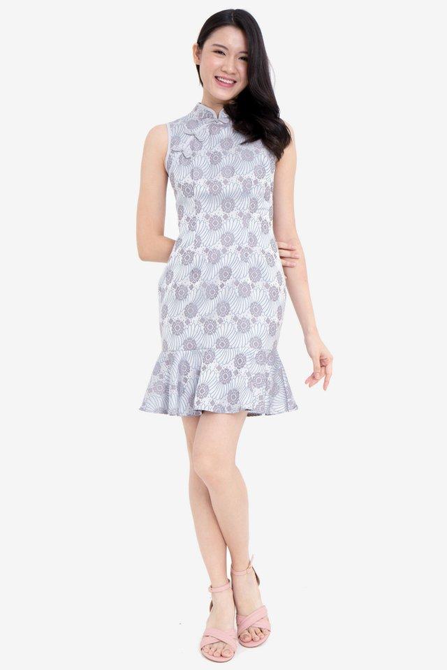 Hilton Shimmer Cheongsam Dress (Grey)