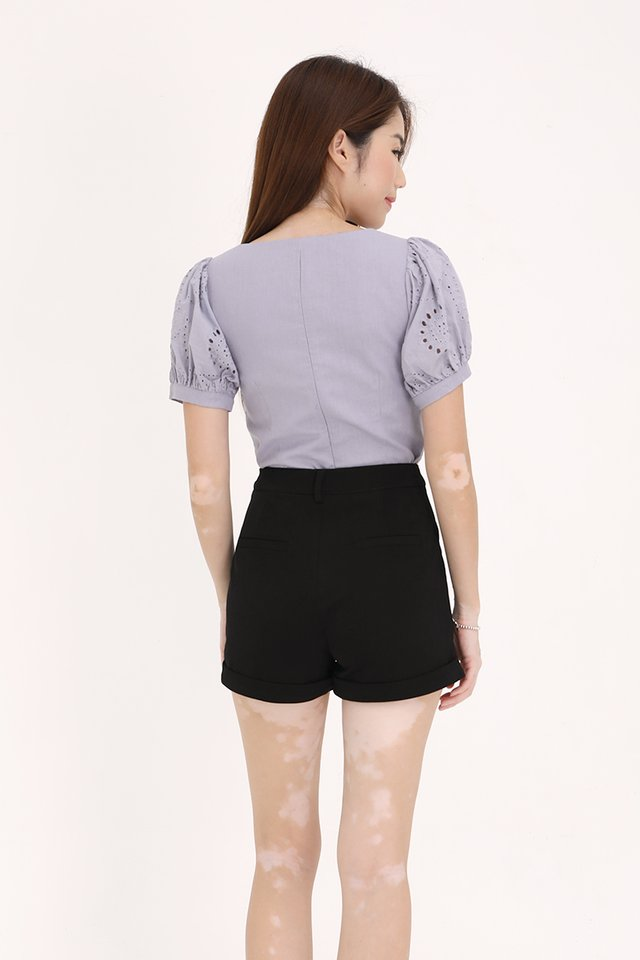 Yuri Puff Sleeves Top (Lilac Grey)