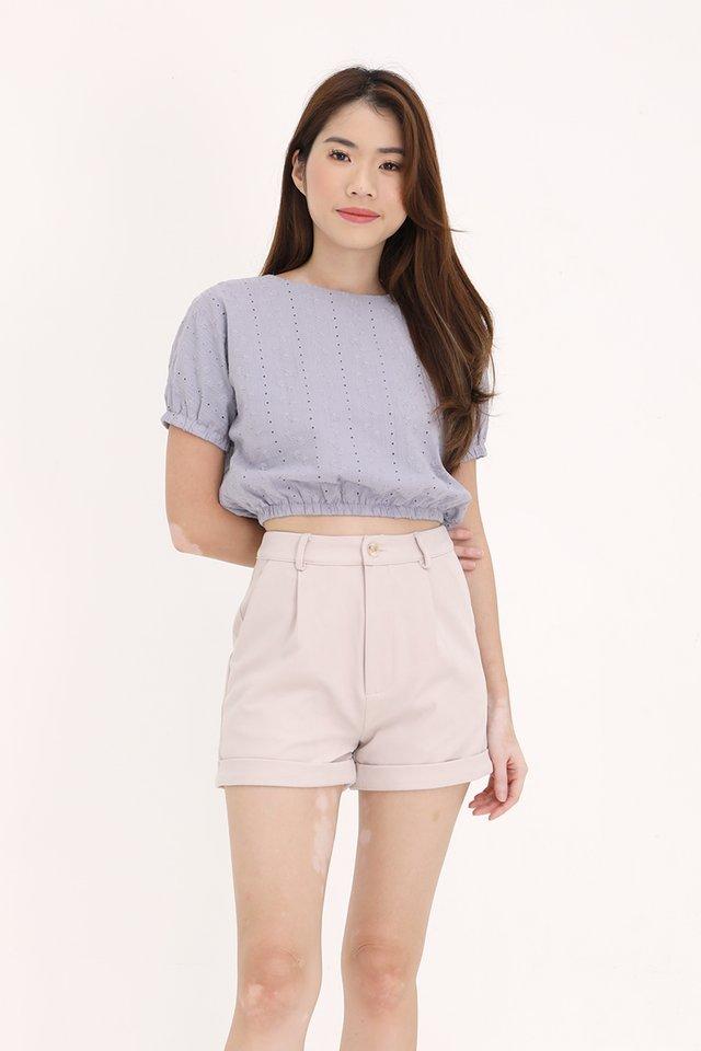 Daria Eyelet Top (Lilac Grey)