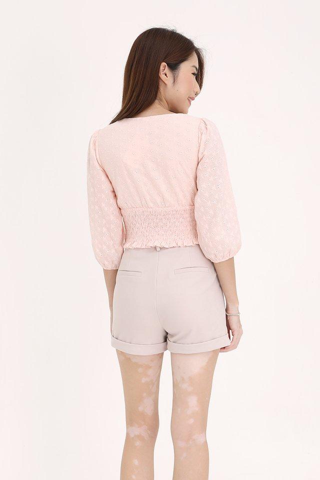 Ingrid Smocked Waist Top (Pink)