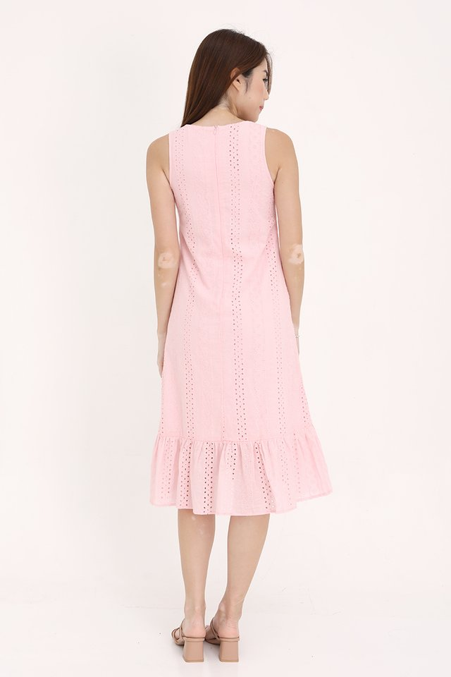 Bethany High-Low Eyelet Dress (Pink)
