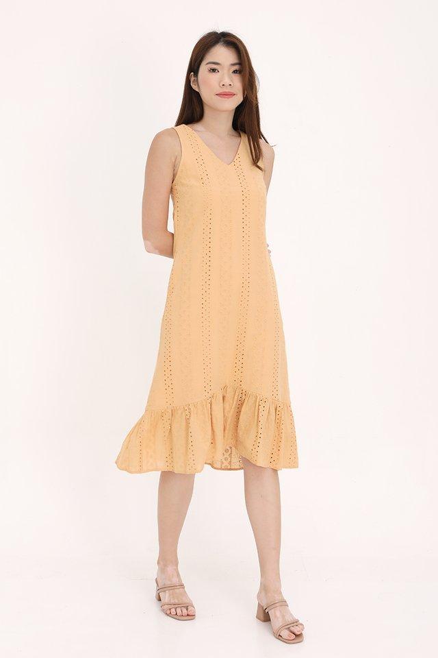Bethany High-Low Eyelet Dress (Marigold)