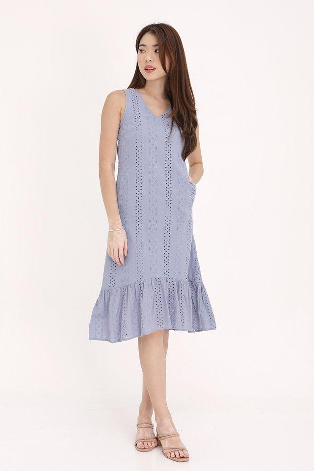 Bethany High-Low Eyelet Dress (Blue)
