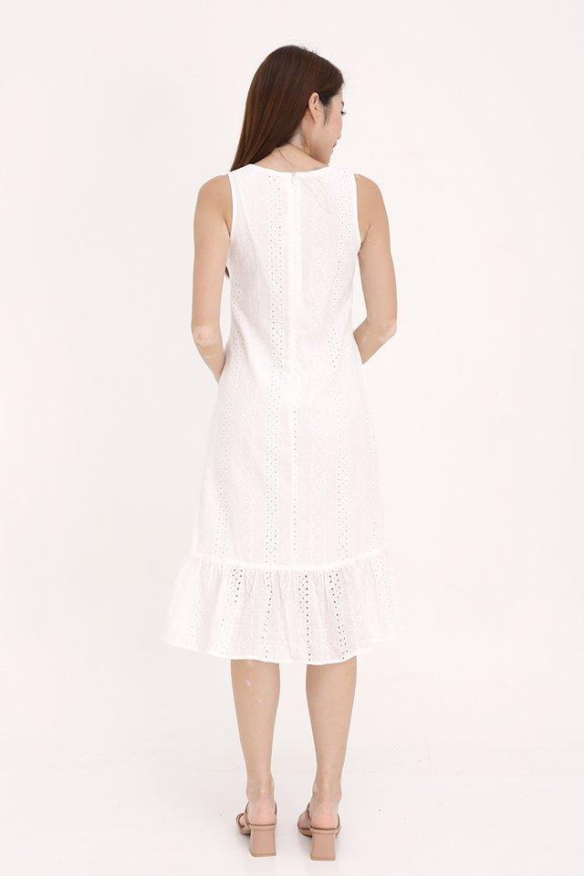 Bethany High-Low Eyelet Dress (White)