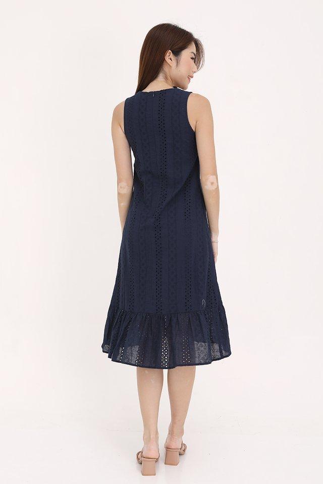 Bethany High-Low Eyelet Dress (Navy Blue)