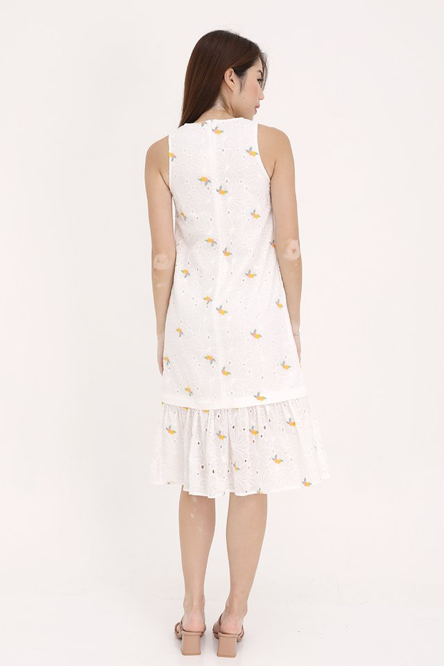 Sophie Embroidery Eyelet Dress with Detachable Hem (White)