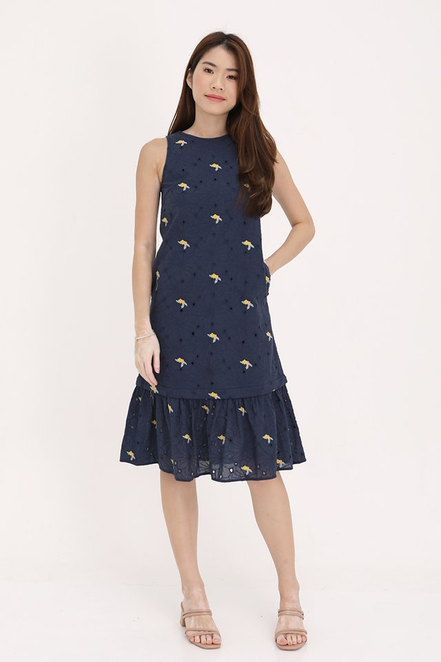 Sophie Embroidery Eyelet Dress with Detachable Hem (Navy Blue)