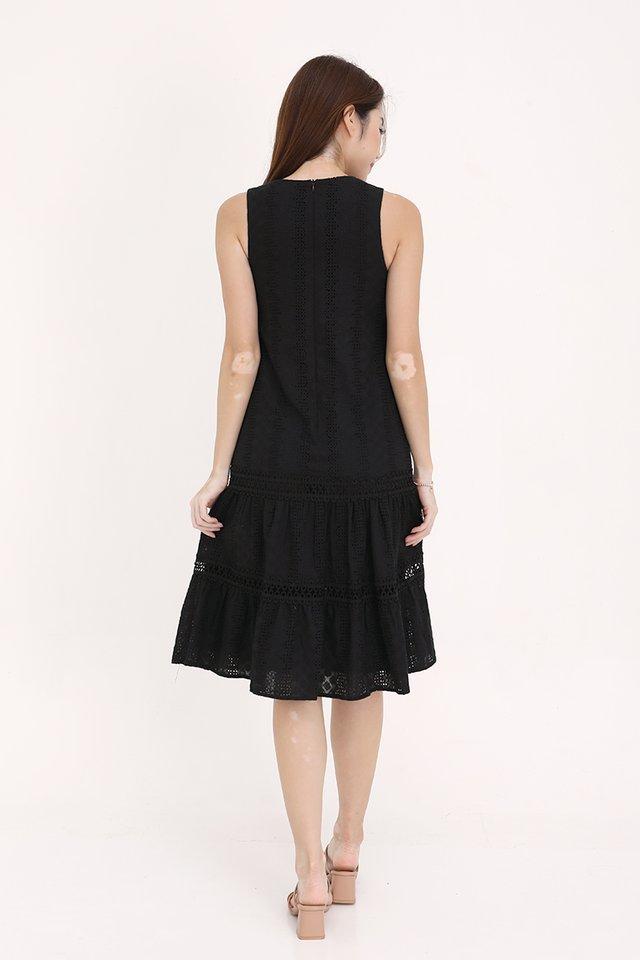 Vania Eyelet Midi Dress (Black)