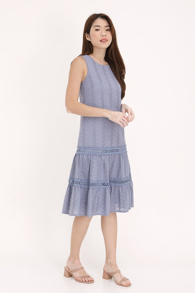 Vania Eyelet Midi Dress (Blue)