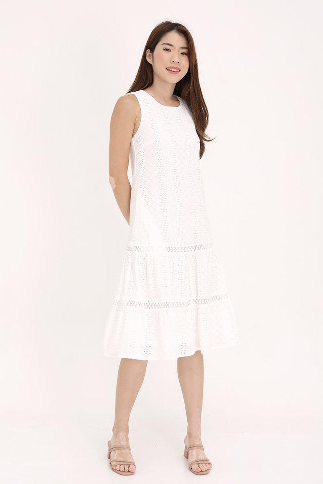 Vania Eyelet Midi Dress (White)