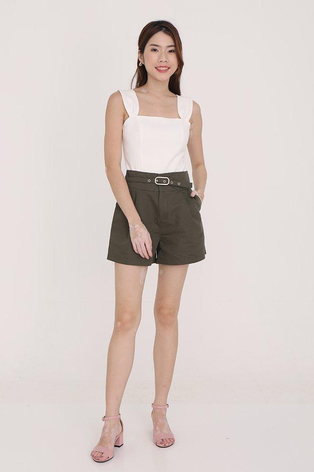 Oliver Belted Shorts (Olive Green)