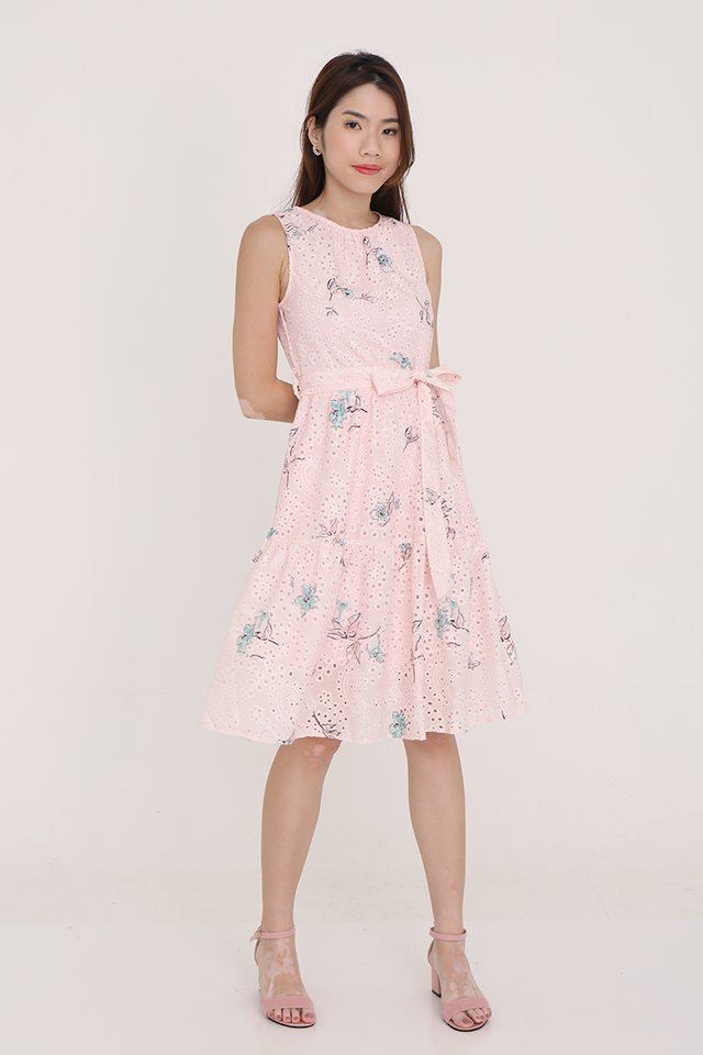 Irene Double Tiered Floral Eyelet Dress (Pink)